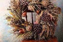 Festive Autumn Wreath With Acorns And Fall Leaves
