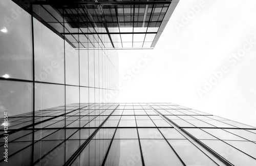 Architectural details of glass and steel building structures - 121815541