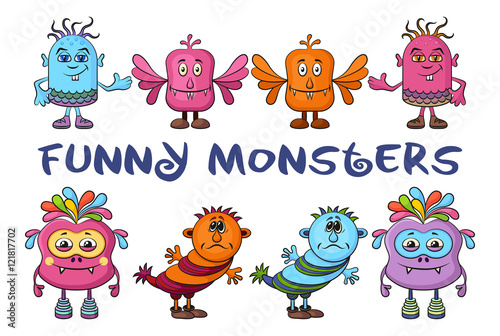 Deurstickers Set of Funny Colorful Cartoon Characters, Different Monsters, Elements for your Design, Prints and Banners, Isolated on White Background. Vector