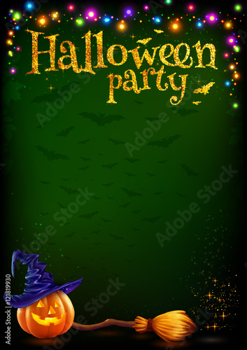 vector halloween party poster template with cartoon style pumpkin