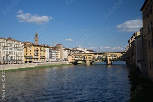 Fotografie, Obraz  View of stone antique bridge Ponte Vecchio and the Arno River in
