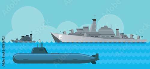 Photo  Warship and Submarine, Side View in the Sea, Navy, Patrol Ship, Flat Design Obje