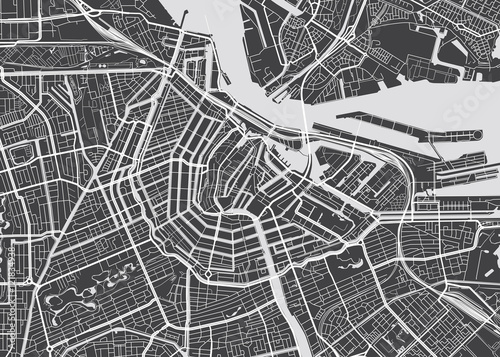 Obraz na plátně Vector detailed map Amsterdam