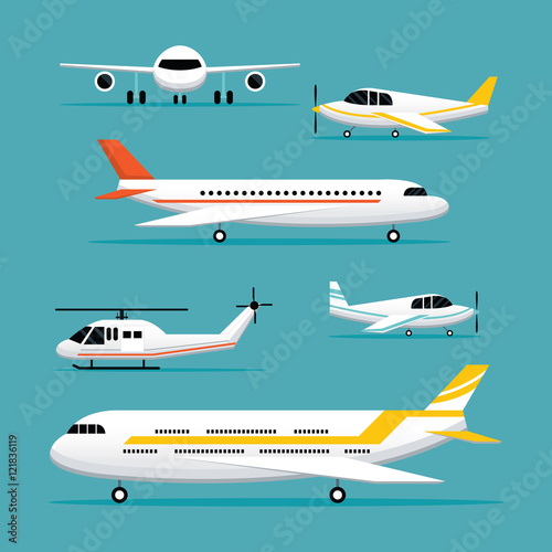 Plane, Light Jet Objects Flat Design Set, Aircraft, Commercial Aviation, Aerial Transport  Wall mural