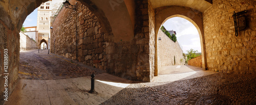 A panorama view of ancient Puerta Daroca and Torre de San Martin in Teruel