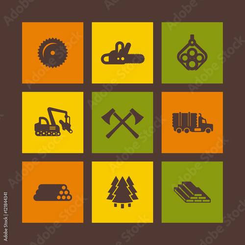 Logging, forestry equipment icons on squares, sawmill