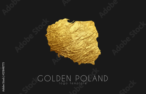 Poland map. Golden Poland logo. Creative Poland logo design Tapéta, Fotótapéta