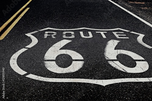 High Angle View Of Route 66 Marking On Highway