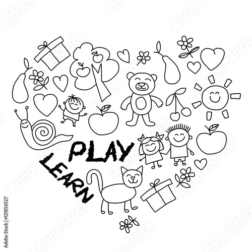 Fotografie, Obraz  Play Learn and grow together Vector image