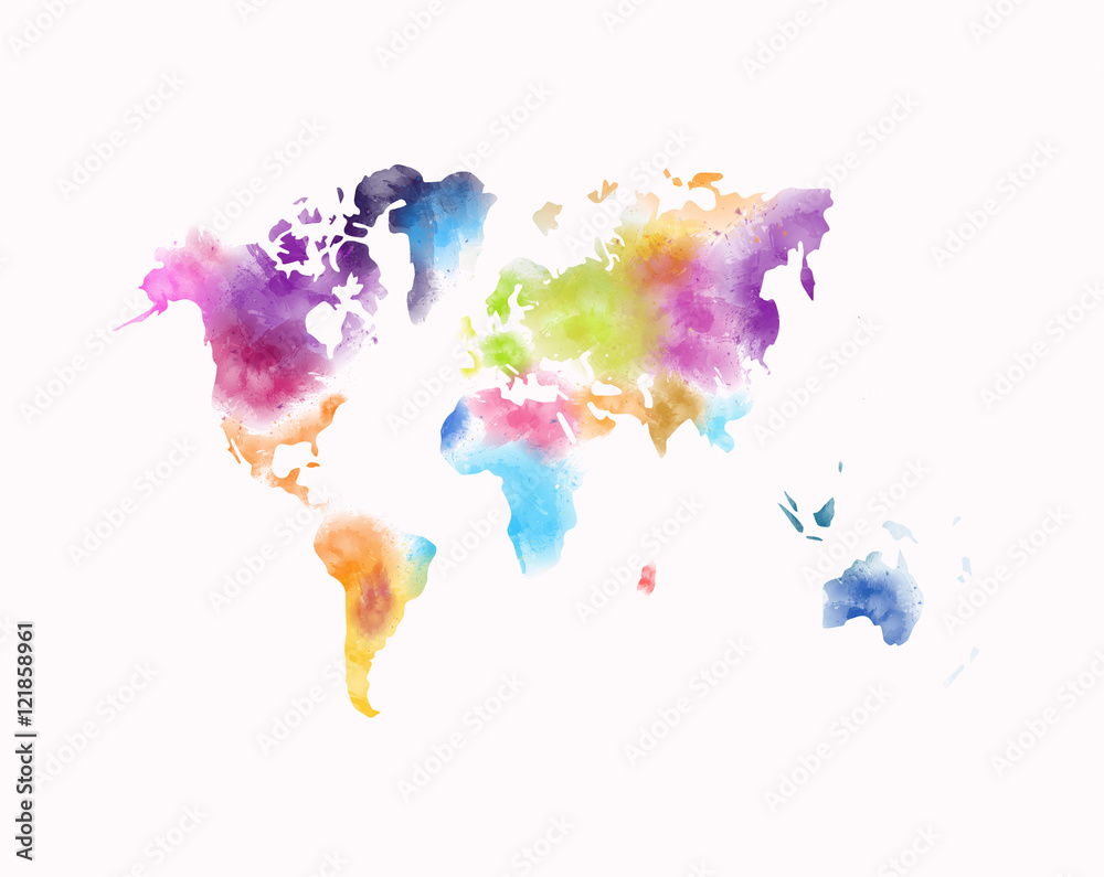 colorful watercolor world map painting isolated on white