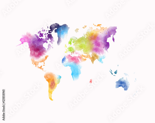 Spoed Foto op Canvas Wereldkaart colorful watercolor world map painting isolated on white