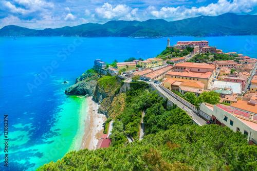 Photo  Panoramic view over Portoferraio town of  isola d'Elba, Elba island in Tuscany region, Italy