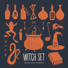 Halloween. Witch Objects. Witc...