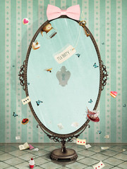 Conceptual illustration vintage oval mirror for greeting card or any design