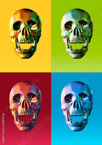 Photo  Low poly skull front with colorful pop art style