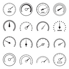 Collection Of Speedometer Icons Isolated On A White Background. Vector Illustration