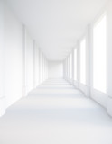 Fototapeta Perspektywa 3d - Empty white corridor