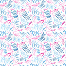 Watercolor Gentle Blue And Pink Foliage Repeat Pattern