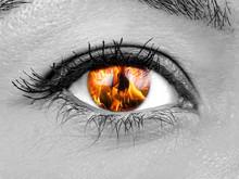 Closeup Female Eye Iris Burning