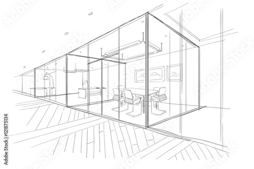 Obraz Hand drawn sketch of the office space. - fototapety do salonu