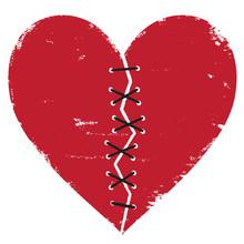 Broken Heart With Thread Stitches Vector Illustration.