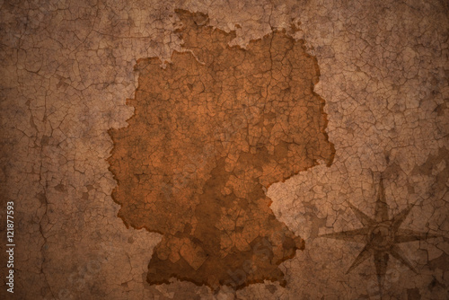 germany map on vintage crack paper background Canvas Print