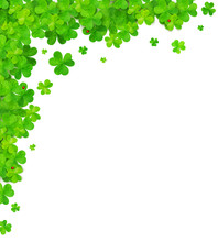 Green Clovers Vector Corner Fr...