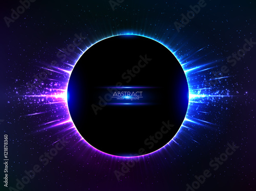 Dark blue vector shining cosmic ring with rays Canvas Print