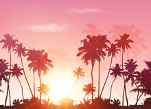 Palms Silhouettes At Pink Sunset Sky, Vector Background