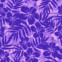Purple Tropical Flowers Silhou...