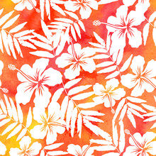 Red Watercolor Vector Hibiscus...