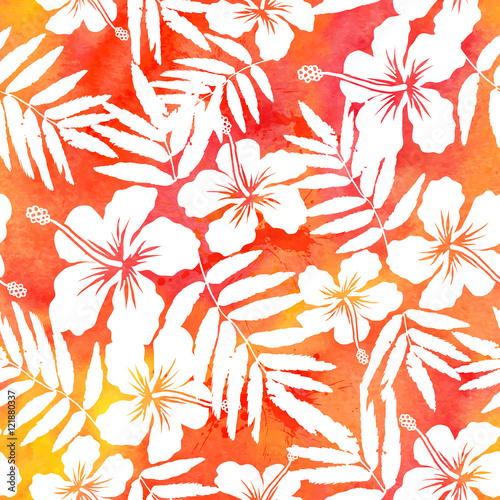 Cotton fabric Red watercolor vector hibiscus summer seamless pattern