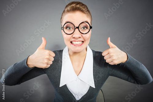 Fotografía  Happy satisfied businesswoman in office.
