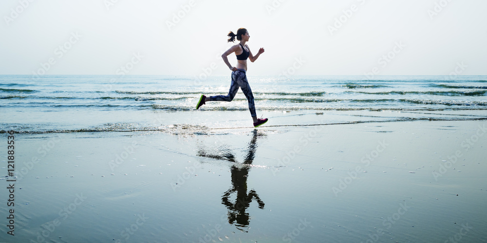 Fototapety, obrazy: Run Sea Sand Sport Sprint Relax Exercise Beach Concept