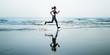 Run Sea Sand Sport Sprint Relax Exercise Beach Concept