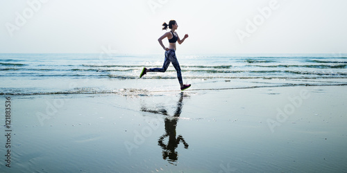 Foto op Canvas Jogging Run Sea Sand Sport Sprint Relax Exercise Beach Concept
