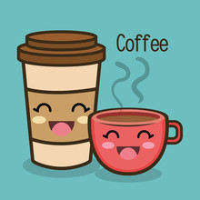 Cartoon Cup Coffee Facial Expression Graphic Vector Illustration Eps 10