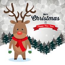 Reindeer Cartoon Greeting Merry Christmas Design Vector Illustration Eps 10