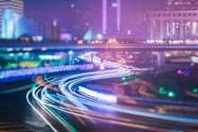 Traffic Light Trails On Road,shanghai,china.