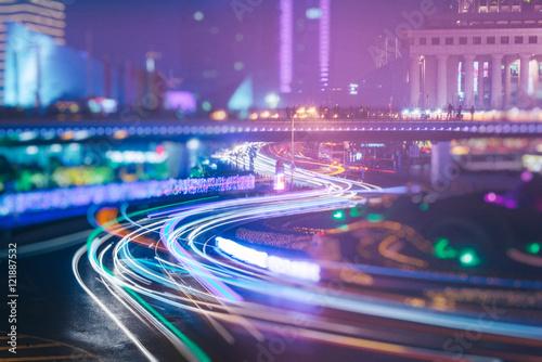 Plakat światła ruchu ślada na drodze, Shanghai, porcelana.