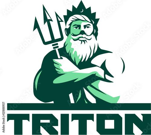 Obraz na płótnie Triton Arms Crossed Trident Front Retro