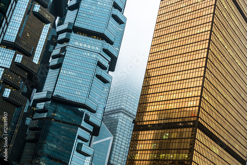 Photo  group of modern skyscrapers in hong kong central district,china,east asia