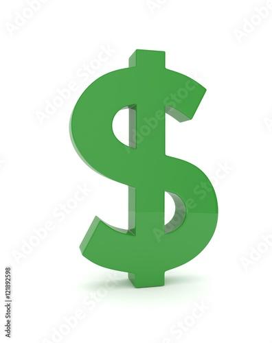 Fotografia, Obraz  Isolated green dollar sign on white background