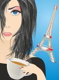 Fototapeta Wieża Eiffla - kawa w Paryżu