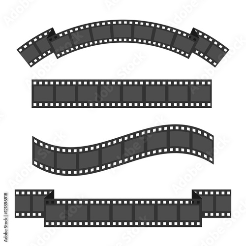 Film strip frame four set. Different shape ribbon. Design element ...