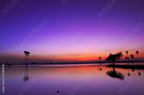 Poster Prune Silhouette twilight sunset sky reflect on the water with palm tree landscape
