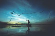 Silhouette Of Fishermen Using ...