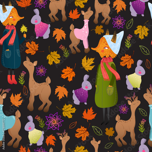 Cotton fabric Cute autumn seamless pattern with forest animals: fox, deer, doe, rabbit. Funny animals childish design. Cute animals in warm clothes. Wonderful autumnal pattern paper or fabric.