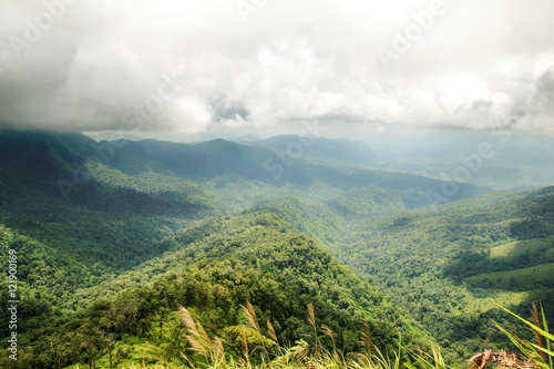 Fotografie, Obraz  Mountain top view landscape with cloud shadow
