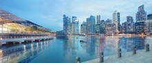 Central Singapore Skyline. Financial Towers And Shopping Malls